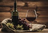 stock photo of grape  - Bottle of red wine - JPG