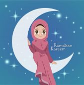 stock photo of hari raya aidilfitri  - Vector Illustration of Muslim Girl Sitting On The Moon - JPG
