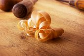 stock photo of wood craft  - Beautiful wood shavings - JPG