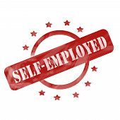stock photo of self-employment  - A red ink weathered roughed up circle and stars stamp design with the words SELF - JPG