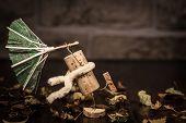 stock photo of midget  - Concept stormy weather with wine cork figures - JPG