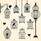 picture of caged  - Set of vintage bird cages - JPG
