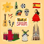 stock photo of windmills  - Tour of Spain hand - JPG