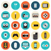 stock photo of musical symbol  - Flat icons set of multimedia and technology devices sound instruments audio and video items and objects - JPG