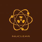 foto of neutrons  - Nuclear vector icon isolated on brown background - JPG