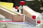 stock photo of workbench  - carpenter workbench with wooden board tools and instruments closeup - JPG