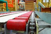 picture of food chain  - The automatic transfer line in shop of industrial factory - JPG