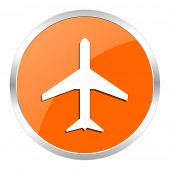 image of aeroplane symbol  - plane orange glossy icon - JPG