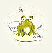 stock photo of baby frog  - Vector hand drawn illustration with funny frog - JPG