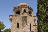 stock photo of filerimos  - Tower monastery of Filerimos mountain of Rhodes Greece photo - JPG