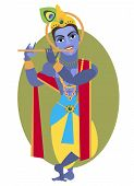 pic of krishna  - vector illustration of Hindu deity Lord Krishna flute - JPG