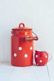 picture of milkman  - Set of vintage utensils milk can and small polka dots milkman home kitchen decor in country style painted white background  - JPG