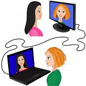 pic of video chat  - Illustration of two women having a video chat through the internet - JPG