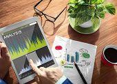 image of analysis  - Man Analysis Stock Exchange on Tablet - JPG