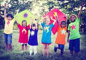 stock photo of bonding  - Children Playing Kite Happiness Bonding Friendship Concept - JPG