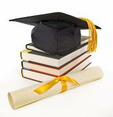 stock photo of tassels  - Vertical shot of graduation cap - JPG