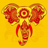 picture of indian  - Vector Indian Decorative Elephant on the Henna Indian Ornaments - JPG