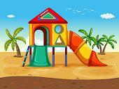 pic of playground  - illustration of playground on the beach - JPG