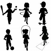 foto of jump rope  - silhouettes children playing - JPG