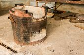 image of brazier  - old charcoal brazier in house for cooking - JPG