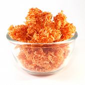 pic of crispy rice  - Red Sweet crispy noodles in a glass make from rice - JPG