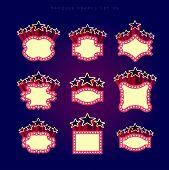 picture of marquee  - Retro illuminated movie marquee vector set 09 - JPG