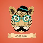 foto of moustache  - Animal leopard with glasses hat and moustaches hipster character portrait vector illustration - JPG
