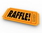 image of prize winner  - Raffle word on orange ticket for you to enter to win a drawing for a cash prize or other award - JPG
