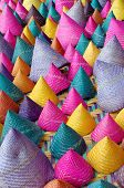 picture of conic  - the composition of colorful conical woven bamboo - JPG