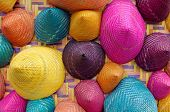 pic of conic  - the composition of colorful conical woven bamboo - JPG
