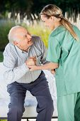 picture of nurse  - Female nurse helping senior man to sit on couch at nursing home - JPG