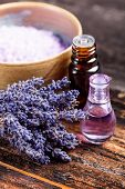 stock photo of perfume  - A bunch of lavender flower with oil and perfume - JPG