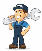 image of cartoon character  - Vector clipart picture of a male mechanic cartoon character holding a huge wrench - JPG