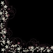foto of iron star  - silver sequin and stars border with swirls isolated on black background - JPG
