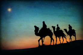 stock photo of wise  - Three Kings Desert Star of Bethlehem Nativity Concept - JPG