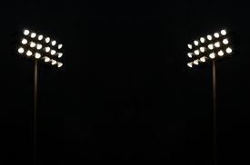 pic of lamp post  - Twin Stadium Lights At A Sports Stadium At Night With Copy Space - JPG