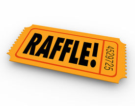 pic of gambler  - Raffle word on orange ticket for you to enter to win a drawing for a cash prize or other award - JPG
