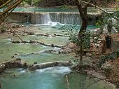 picture of kan  - Small waterfall with emerald color water on the way of Wang Kan Lueang Waterfall - JPG