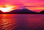 stock photo of mount fuji  - Mount Fuji and  Lake Shojiko at sunrise - JPG