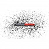 stock photo of north-pole  - Iron filings around a magnet - JPG