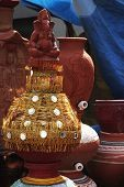 picture of kalash  - Decorative pots at a market stall - JPG