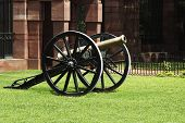 stock photo of rashtrapati  - Cannon at the fort of a government building - JPG