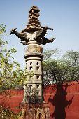 image of lakshmi  - Column at a temple - JPG
