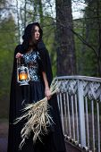 stock photo of cloak  - girl in a black cloak with a lantern on the bridge - JPG