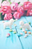 foto of easter candy  - Easter still life lamb of white chocolate and candy - JPG
