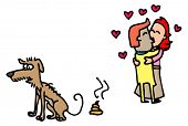 stock photo of poo  - Illustrative representation of Dog Poo and Love Birds - JPG