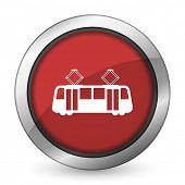 stock photo of tram  - tram red icon public transport sign  - JPG