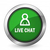 picture of chat  - live chat green icon   - JPG