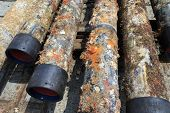 picture of oilfield  - Old surface oilfield casing just pulled out of hole from plug and abandonment operation - JPG