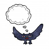 picture of vampire bat  - cartoon spooky vampire bat with thought bubble - JPG